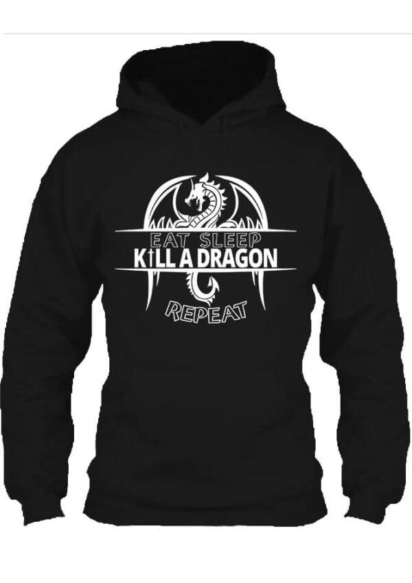 Pulóver eat sleep kill a dragon repeat fekete