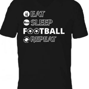 Eat sleep football repeat – Férfi V nyakú póló