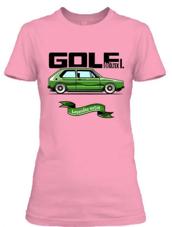 Női póló golf őrültek 1 pink