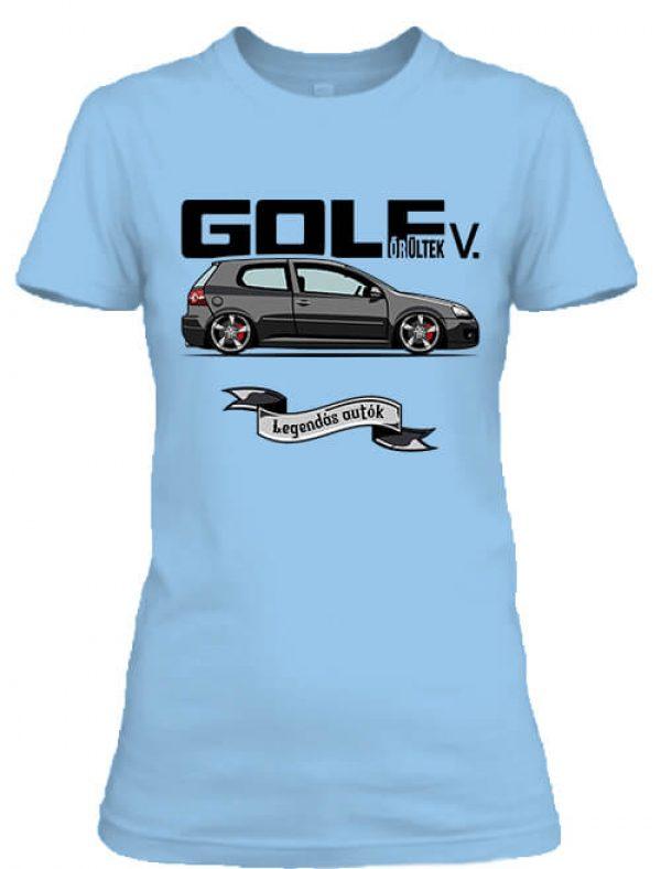 Női póló golf őrültek 5 égkék