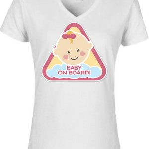 Baby  on board lány – Női V nyakú póló