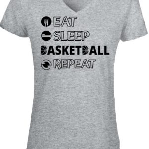Eat sleep basketball repeat – Női V nyakú póló