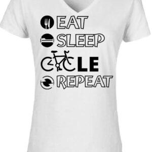 Eat sleep cycle repeat – Női V nyakú póló