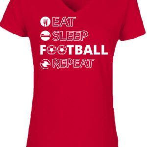 Eat sleep football repeat – Női V nyakú póló