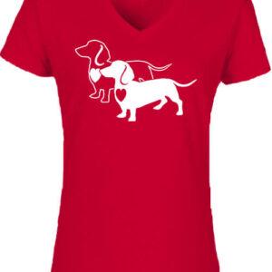 I love Tacskó – Női V nyakú póló