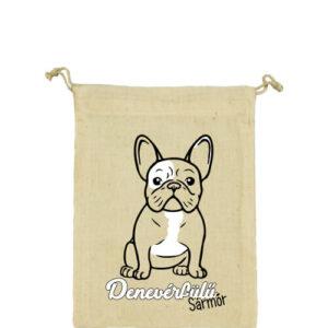 Denevérfülű sármőr francia bulldog – Vászonzacskó közepes