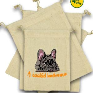 A család kedvence francia bulldog – Vászonzacskó szett