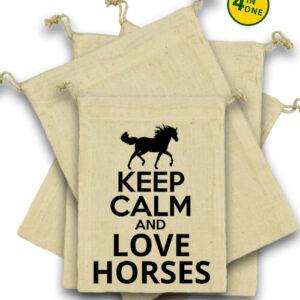 Keep calm and love horses lovas – Vászonzacskó szett