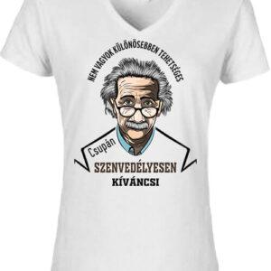 Szenvedélyes Einstein – Női V nyakú póló