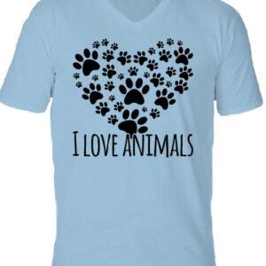 I love animals – Férfi V nyakú póló