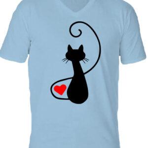 Macska szerelem – Férfi V nyakú póló