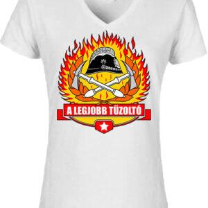 A legjobb tűzoltó – Női V nyakú póló