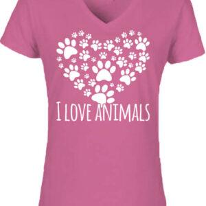 I love animals – Női V nyakú póló