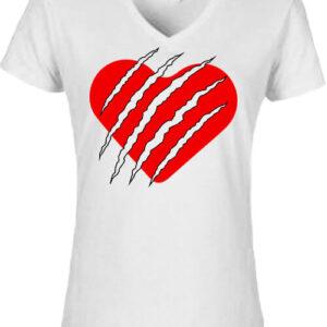 Macska szív – Női V nyakú póló