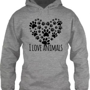 I love animals – Unisex kapucnis pulóver