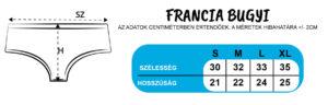 Francia bugyi mérettáblázat Pólóplanet