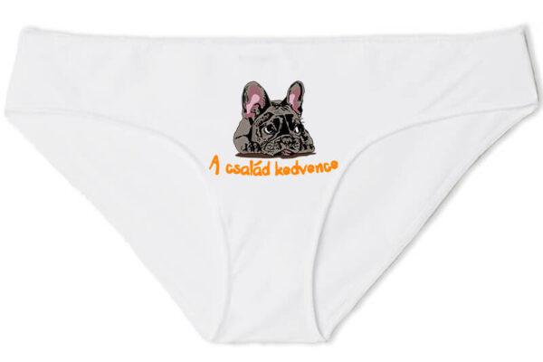 Női bugyi A család kedvence francia bulldog fehér