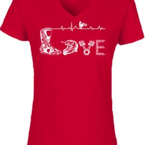 Love motocross – Női V nyakú póló