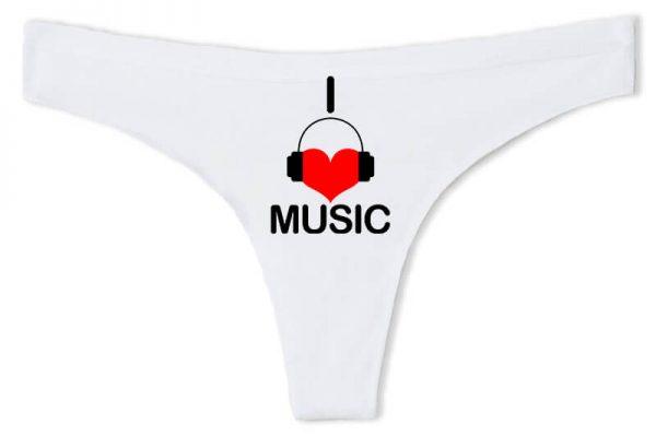 Tanga I love music fehér
