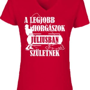 Júliusi horgászok – Női V nyakú póló