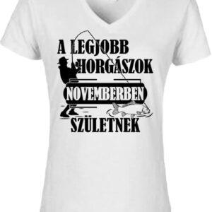 Novemberi horgászok – Női V nyakú póló