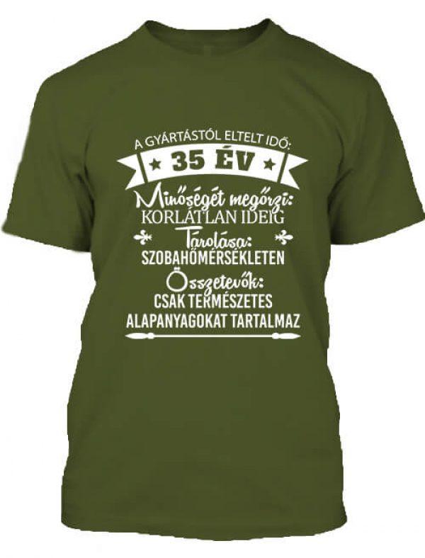 Férfi póló 35 éves születésnap sötétzöld