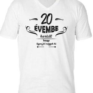 20 évembe születésnap – Férfi V nyakú póló