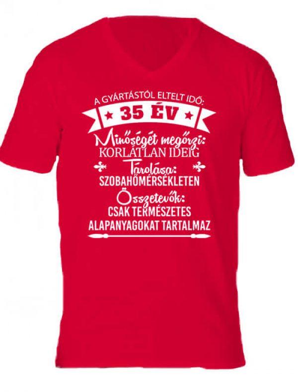 Férfi V nyakú póló 35 éves születésnap piros