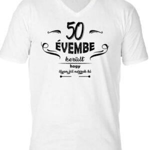 50 évembe születésnap – Férfi V nyakú póló