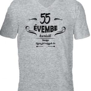 55 évembe születésnap – Férfi V nyakú póló