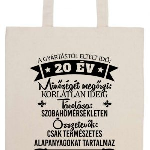 20 éves születésnap- Prémium hosszú fülű táska