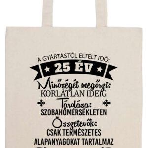 25 éves születésnap- Prémium hosszú fülű táska