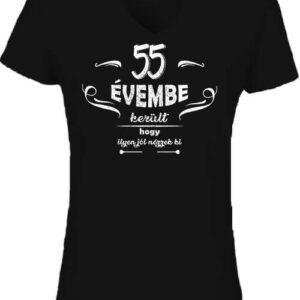 55 évembe születésnap – Női V nyakú póló