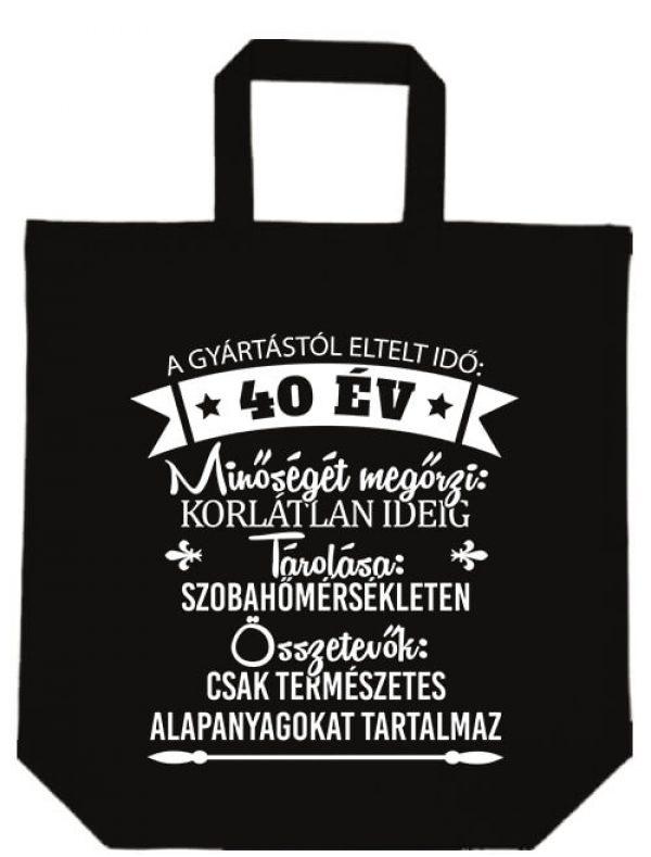Rövid fülű táska 40 éves születésnap fekete