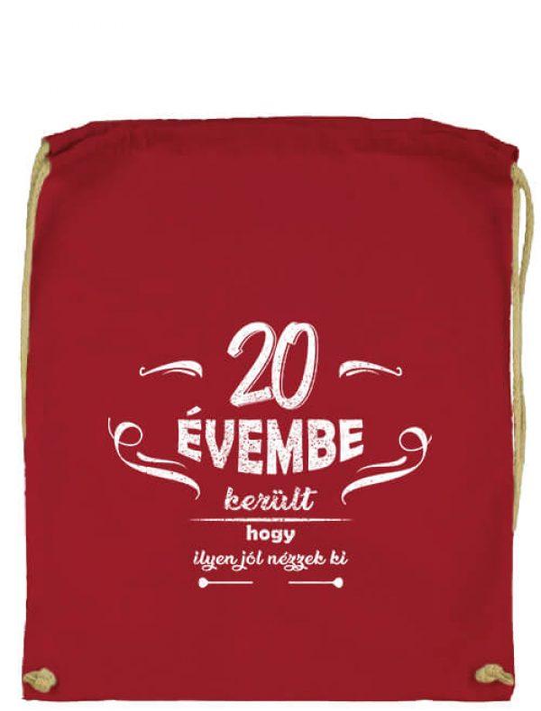 Tornazsák 20 évembe születésnap piros