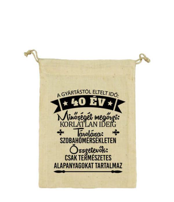 Vászonzacskó 40 éves születésnap natur