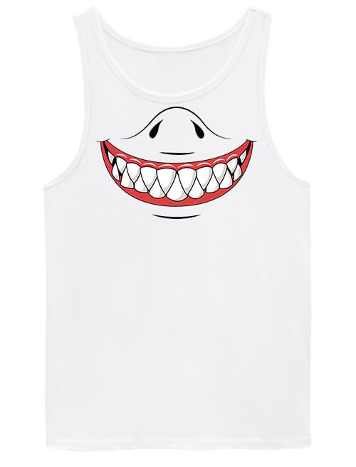 Férfi ujjatlan póló Cápa mosoly fehér
