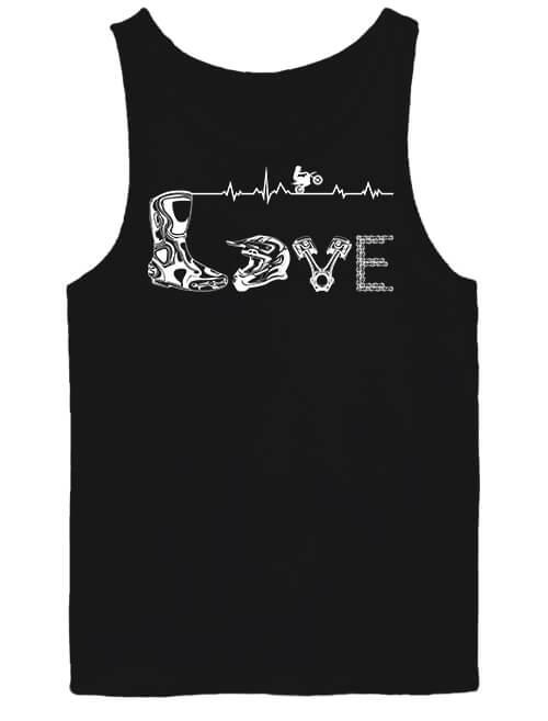 Férfi ujjatlan póló Love motocross fekete