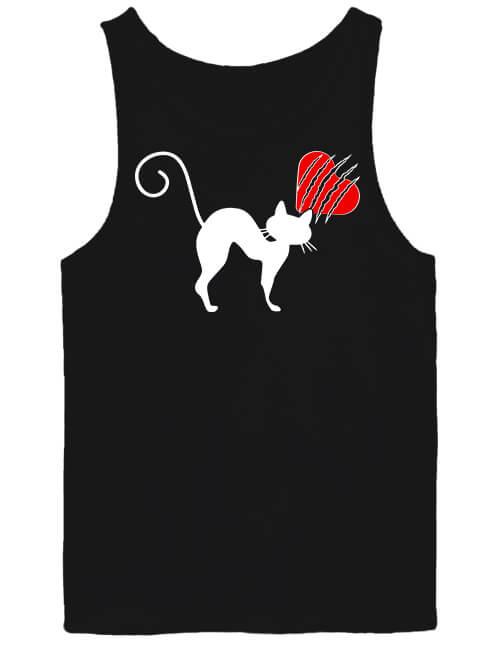 Férfi ujjatlan póló Macskamánia fekete