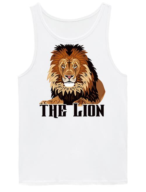 Férfi ujjatlan póló The lion Az oroszlán fehér