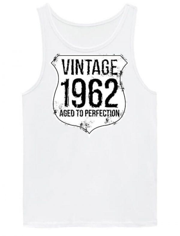 Férfi ujjatlan póló Vintage 1962 szülinapos fehér