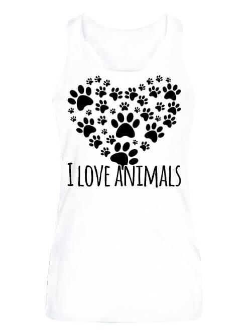 Női ujjatlan póló I love animals