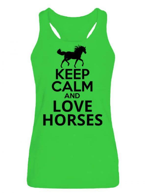 Női ujjatlan póló Keep calm and love horses lovas lime