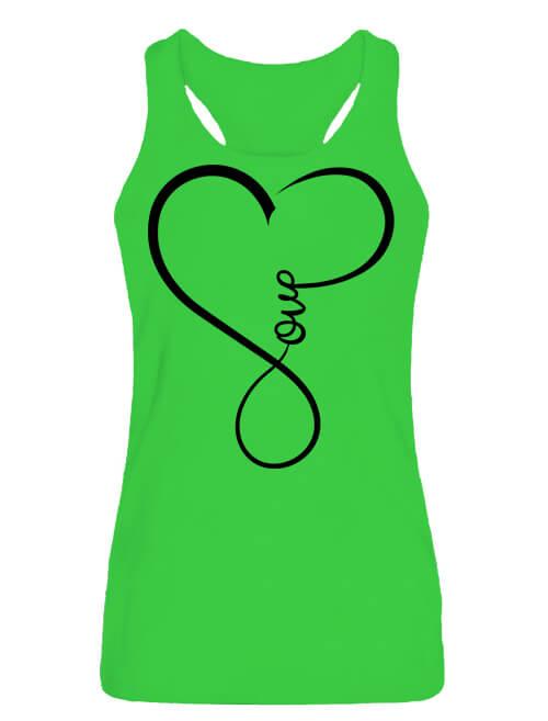 Női ujjatlan póló Love lime