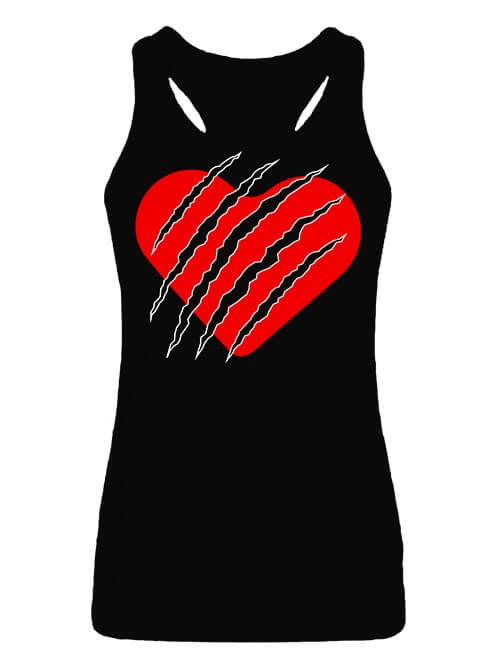 Női ujjatlan póló Macska szív