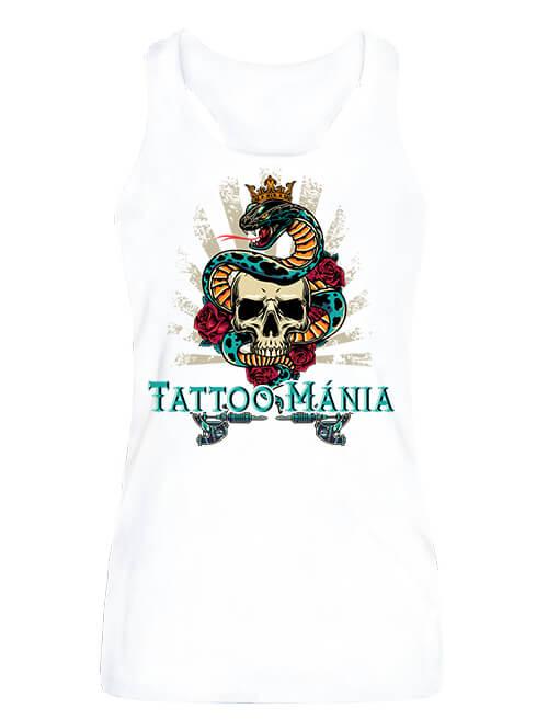 Női ujjatlan póló Tattoo mánia fehér