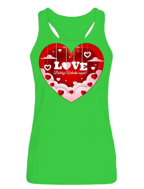 Női ujjatlan póló Valentin nap lime