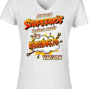 Szuperhős bérszámfejtő – Női V nyakú póló