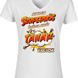 Szuperhős tanár – Női V nyakú póló