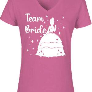 Team Bride Princess lánybúcsú – Női V nyakú póló